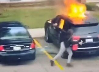 Mulher pega fogo a carro do namorado mas quase se magoa seriamente