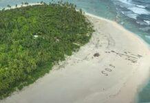 Três homens foram resgatados de ilha ao escreverem SOS na areia