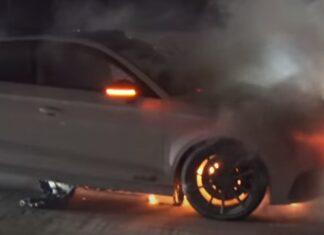 Audi RS3 incendeia depois de ter perdido os travões
