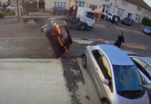 Audi A3 capota e quase atropela homem que passava na rua