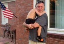 Avô vê o neto depois de 8 meses por causa da pandemia
