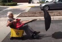 Empregado de escola inventa uma nova forma de se deslocar