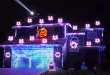 Rei dos espetáculos de iluminação em casa faz apresentação de Halloween