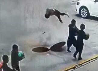 Criança é lançada pelos ares ao atirar bombinha para esgoto