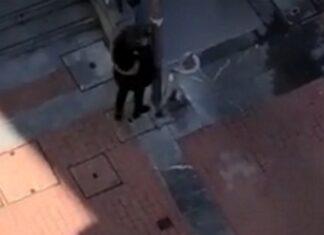 Mulher bate com a cabeça num poste para culpar o companheiro