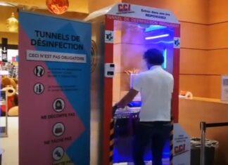 """Supermercado francês instala """"túnel"""" para desinfetar clientes à entrada"""