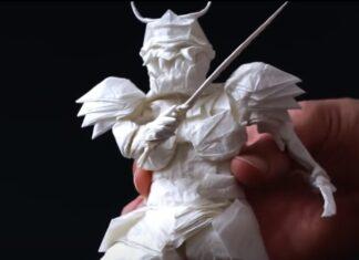 Jovem artista passa 50 horas a criar um samurai com apenas uma folha de papel