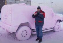 Homem tenta lavar o carro com temperatura a -40 ℃ mas não correu bem