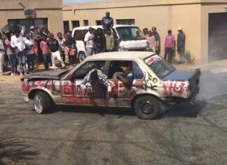 Jovens fazem drift com BMW a cair de velho