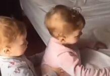 Irmãos ajudam um ao outro a subir à cama