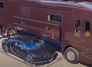 Autocaravana milionária tem até uma garagem com Bugati Chiron dentro