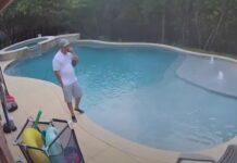 Homem cai à piscina enquanto falava ao telemóvel